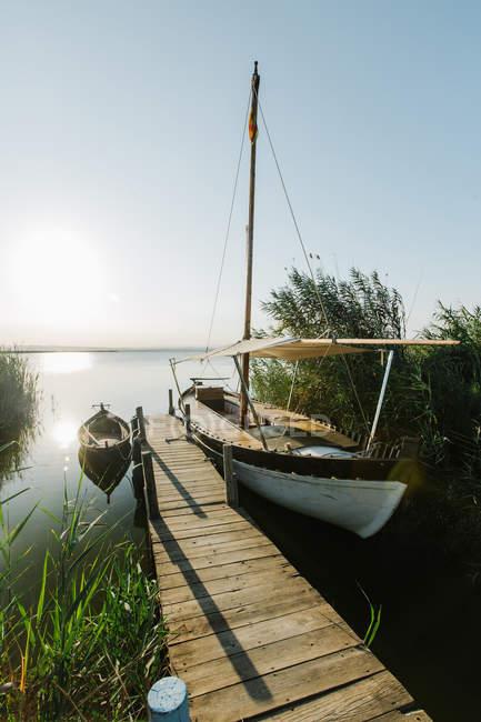 Ländliche Anlegestelle aus Holz mit gefesselten Schiffen durch grüne Büsche an einer ruhigen Lagune an einem Sommertag in Valencia — Stockfoto