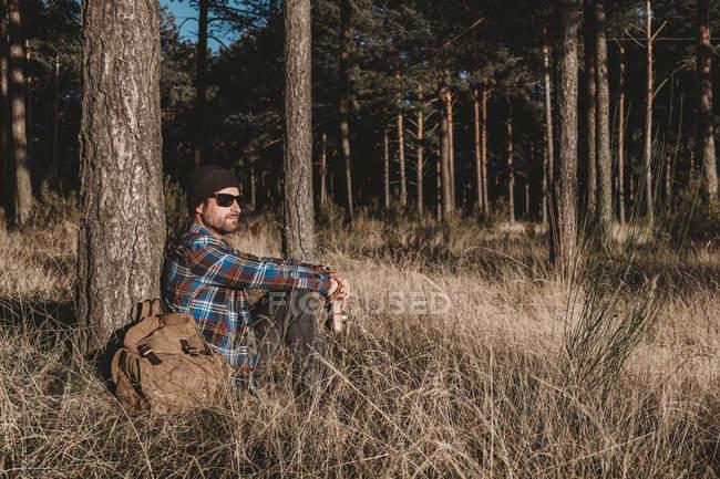 Vista laterale dell'uomo in cappello e occhiali da sole appoggiati sull'albero sempreverde e seduti sull'erba dallo zaino nella giornata di sole — Foto stock