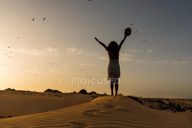 Активная женщина, стоящая со шляпой в вытянутых руках в сухой пустыне — стоковое фото