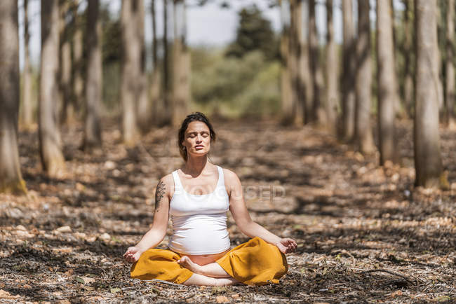 Barefoot serene expectant mother with closed eyes sitting in padmasana pose and meditating in forest — Stock Photo