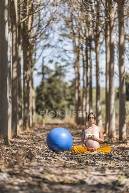 Serene adult pregnant woman meditating by large blue fitness ball while sitting on ground among trees in park — Stock Photo