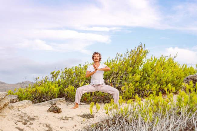 Женщина стоит на песке возле зеленого кустарника и медитирует, практикуя Тай Чи против облачного неба в природе — стоковое фото