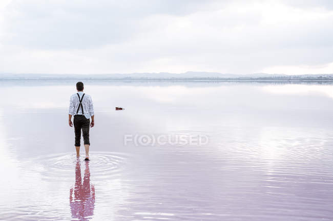 Back view serious man in white shirt and rolled up pants walking towards a guitar in gradient sea — Stock Photo