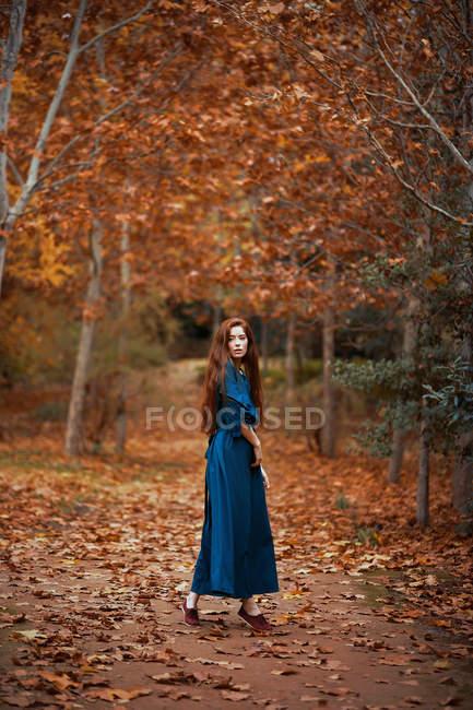 Очаровательная грустная женщина в синем платье стоит на аллее, усеянной листьями в осеннем парке с деревьями в оранжево-красной коричневой листве — стоковое фото