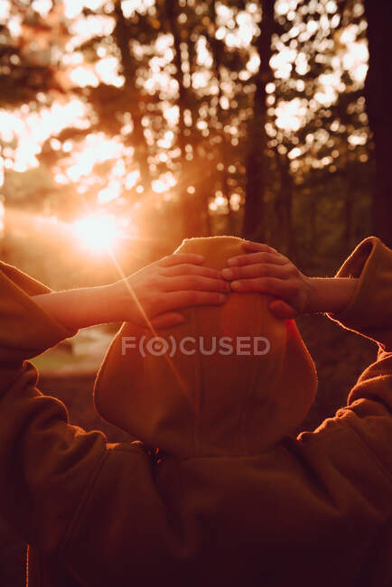 Людина дивиться захід сонця в осінньому лісі — стокове фото