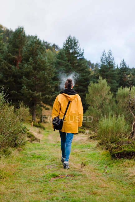 Back view of woman in yellow raincoat walking in forest and smoking — Stock Photo