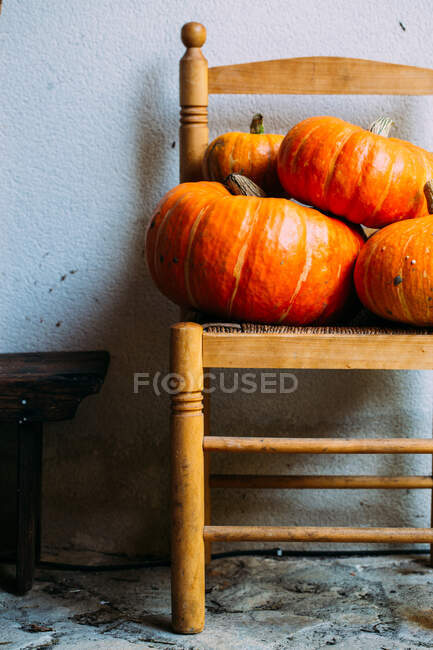Shiny orange pumpkins composed on chairs — Stock Photo