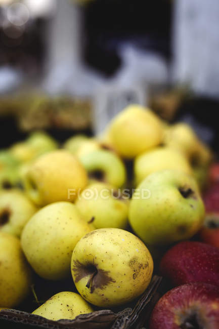 Stand full of ripe organic green apples at farmers outdoor market — Stock Photo