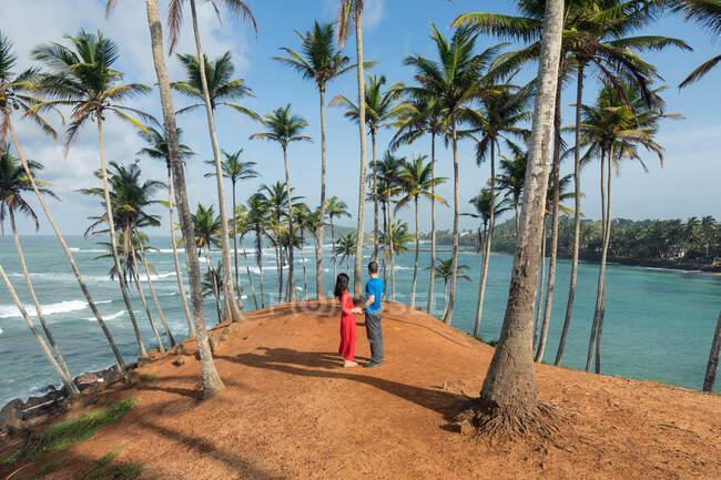 Спокійні мандрівники стоять у повсякденному одязі і тримаються за руки біля тропічного пагорба з пальмами біля блакитного моря. — стокове фото