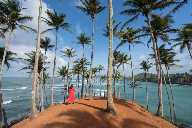 Tranquille voyageuse parmi les palmiers au bord de la mer — Photo de stock