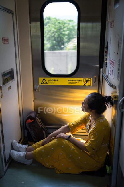 Viaggiatore femminile allegro in abito elegante al treno — Foto stock