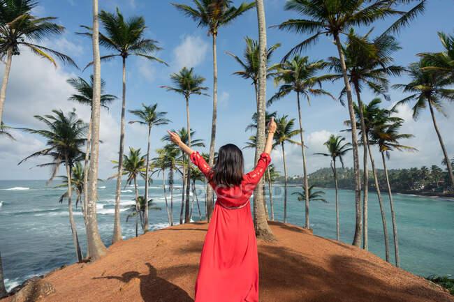 Tranquil female traveler among palms at seashore — Stock Photo