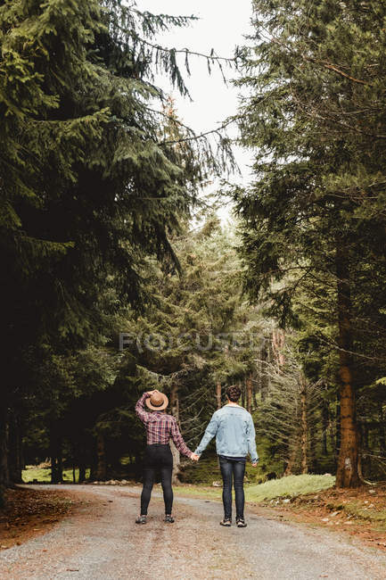 Back view of couple of travelers holding hands while walking on narrow road among forest during trip in Scotland — Stock Photo