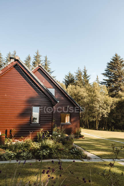 Charming red wooden houses surrounded by green lawn and trees in Scotland woods — Stock Photo