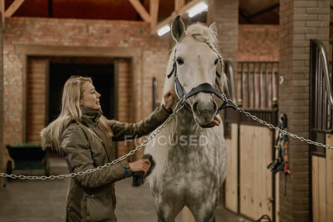 Vista laterale della donna dai capelli lunghi che dà da mangiare al cavallo grigio ananas con museruola di criniera bianca nella stalla — Foto stock