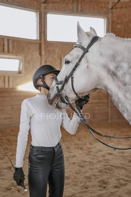 Bride de réglage cavalier au cheval gris pomme dans l'arène ronde — Photo de stock