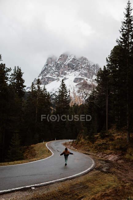 Одинокий путешественник среди соснового леса рядом с большими скалами — стоковое фото
