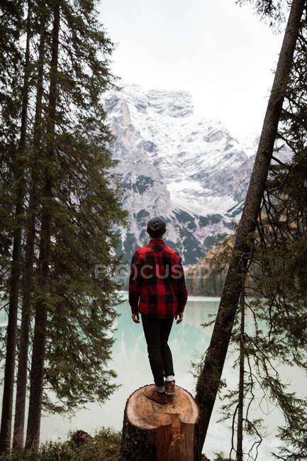 Человек наслаждается видами вблизи озера и гор — стоковое фото