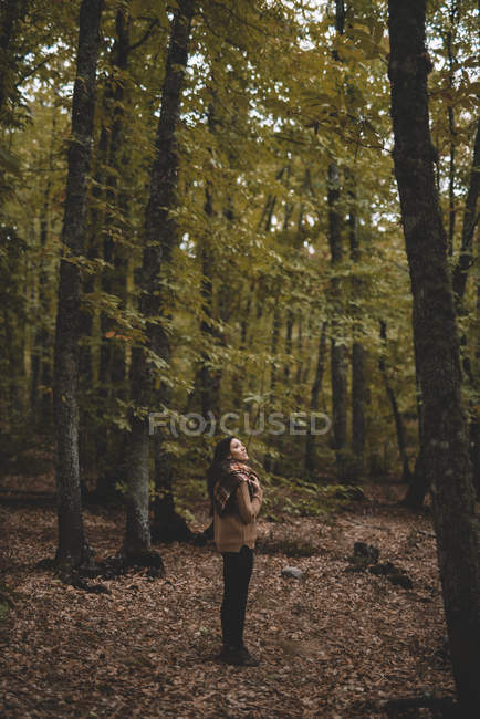 Side view of young woman in hat wrapping in checkered scarf while standing on dry leaves in autumn forest looking up — Stockfoto