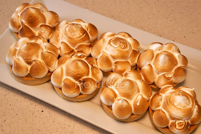 Tasty pastries with grilled meringue on white ceramic rectangular plate — Stock Photo