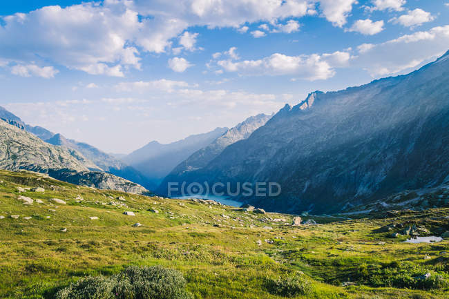 Picturesque landscape of meadow with green grass on shore surrounded by rocky mountains in Switzerland — стоковое фото
