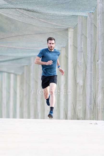 Bearded male athlete in blue t shirt and shorts running outdoors under cover looking at camera — Stock Photo