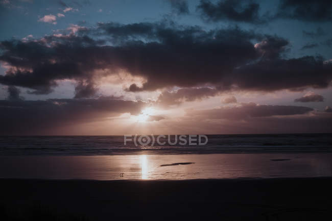 Sun shining from behind clouds and sunbeams reflecting in sea water at sunset time at New Zealand seashore — Stock Photo