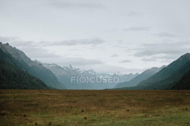 New Zealand landscape with yellow valley among green hills and rocky mountains with peaks covered with snow against cloudy sky — Stock Photo