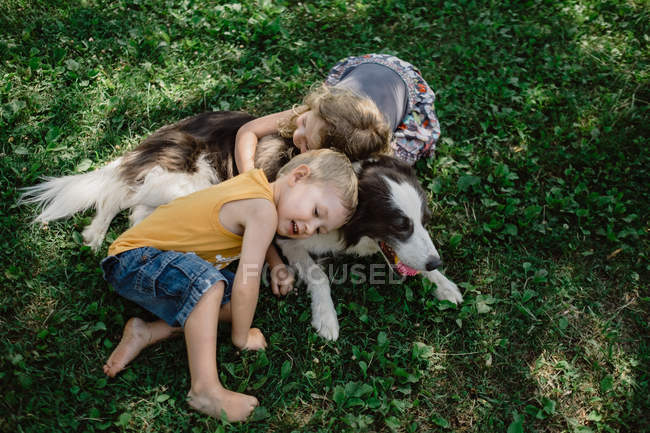 From above adorable children lying and embracing spot fluffy dog with ball in mouth in grass meadow in park — Stock Photo