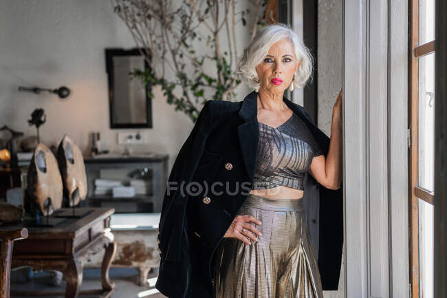 Bossy elegant woman against vintage interior in country house — Stockfoto