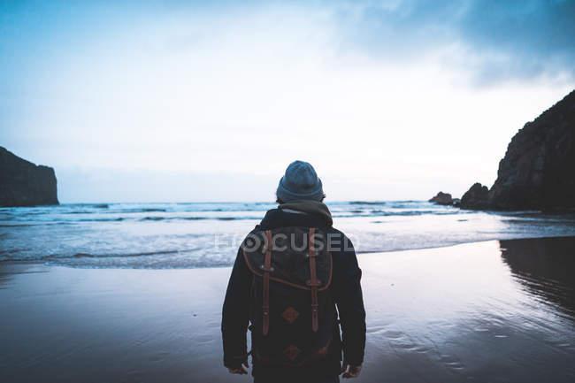 Vista posteriore di viaggiatore anonimo in giacca con zaino contemplando la vista sul mare circondato da montagne — Foto stock