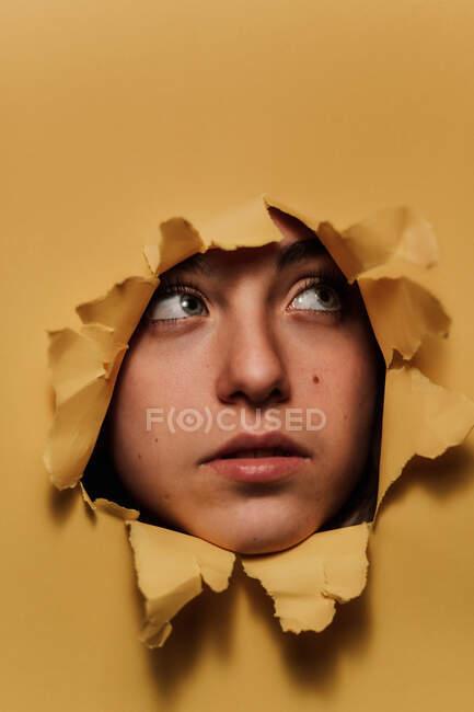 Pensativo adolescente femenina mirando desde el agujero en el estudio - foto de stock