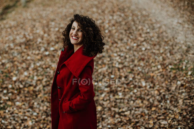 From above of curly haired woman smiling and looking at camera with golden fallen leaves on blurred background — Stock Photo