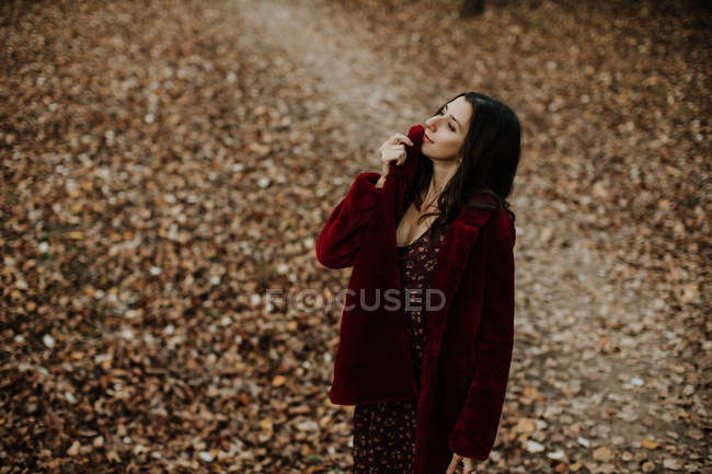 From above woman smiling and looking at camera with golden fallen leaves on blurred background — Stock Photo