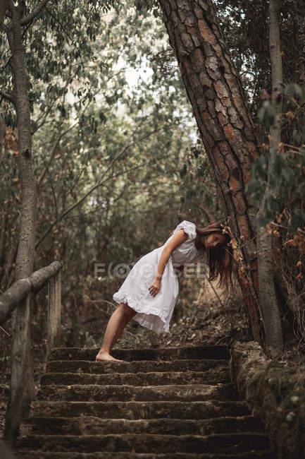 Знизу таємнича спокійна жінка у білому одязі, схилившись головою на стовбурі дерева, стоїть на сходах у тихому осінньому парку. — стокове фото