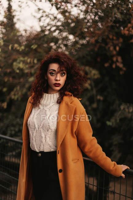 Mujer con pelo rizado oscuro usando jersey de punto y abrigo de pie en el parque poniendo la mano en la barandilla de metal mientras mira a la cámara - foto de stock