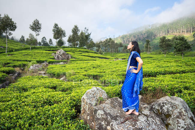 Seitenansicht einer zufriedenen jungen Asiatin in blauem Sari, die auf einem Felsen inmitten von Teefeldern in Haputale in Sri Lanka steht — Stockfoto