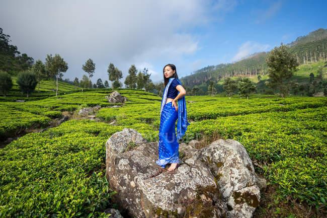 Vista laterale della donna asiatica in sari blu in piedi sulla roccia guardando la fotocamera nel mezzo di campi da tè in Haputale in Sri Lanka — Foto stock