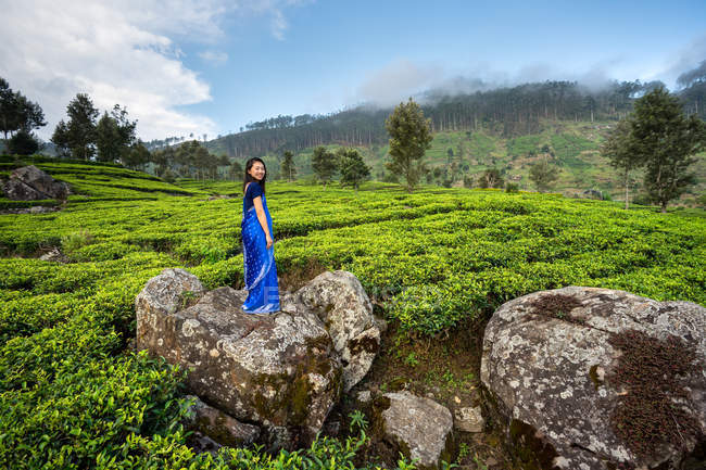 Side view of Asian woman in blue sari standing on rock looking at camera in middle of tea fields in Haputale in Sri Lanka — Stock Photo