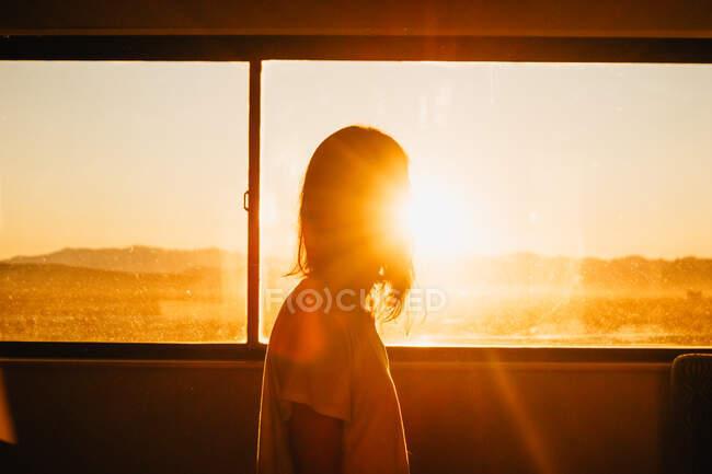 Вид сбоку женщины, выглядывающей из окна здания на пляже Венис в США на закате — стоковое фото