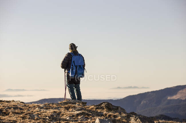 Back view of anonymous person with backpack and sticks travelling in mountain dry valley under blue sky in bright sunshine — Stock Photo