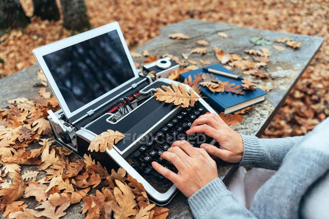 Руки женщины, печатающей на винтажной пишущей машинке с табличкой в осенних листьях на каменном столе в дубовом лесу — стоковое фото