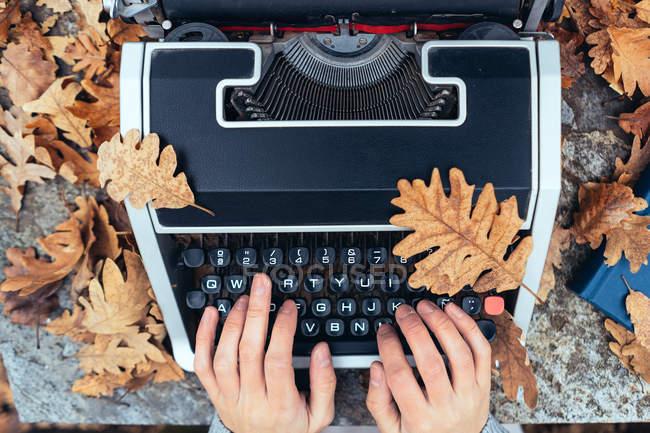 Руки жінок на старовинній друкарській машинці з табличкою восени листя на кам
