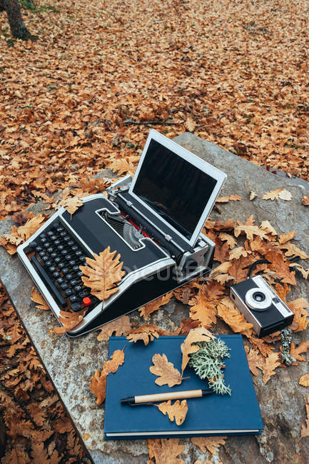 From above vintage old typewriter with tablet in autumn leaves and blue notebook with pen and retro camera on stone table in oak forest — Stock Photo