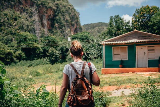 Back view of blond haired faceless female traveler in casual wear with backpack and rural house among green tropical plants on background in Cuba — Stock Photo