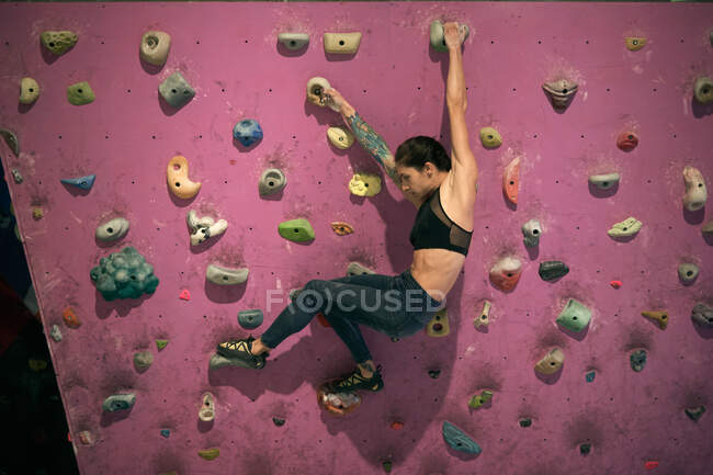 From above side view of woman athlete tattooed powerful woman climbing on colorful wall with ledges for climbers in room — Stock Photo