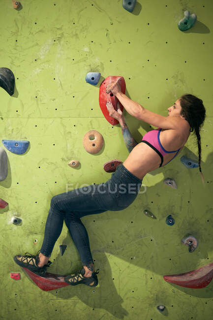 From below side view of woman athlete tattooed powerful woman climbing on colorful wall with ledges for climbers in room — Stock Photo