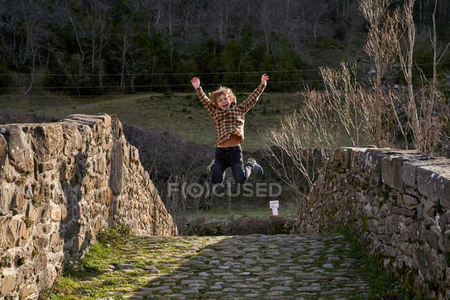 Активный игривый ребенок прыгает с поднятыми руками на древнем арочном мосту под небольшим горным ручьем через лесную долину в яркий день — стоковое фото