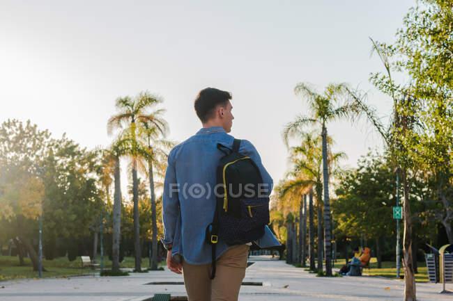 Visão traseira do homem com mochila andando ao longo do beco do parque em dia ensolarado — Fotografia de Stock