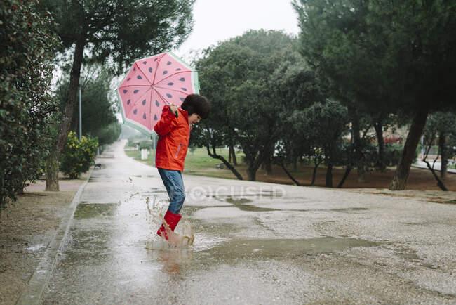 Vista lateral criança ativa com estilos de melancia guarda-chuva aberto em capa de chuva vermelha e botas de borracha pulando jogando no beco do parque em dia cinza — Fotografia de Stock